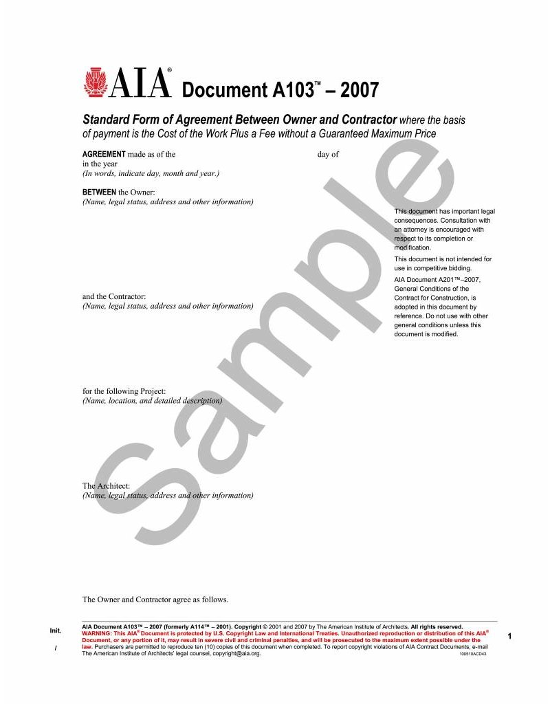 A103 2007 standard form of agreement between owner and for Cost plus contract form