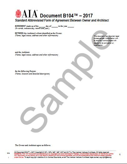 B1042017 Standard Form Of Agreement Between Owner And Architect
