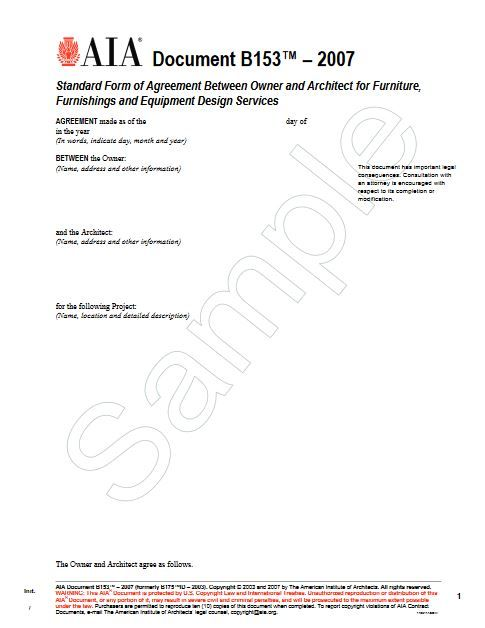 B153-2007 Standard Form Of Agreement Owner Architect For Furniture,Furnishings And Equiptment Design Ser