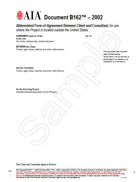 B162-2002 Abb Form Of Agreement Client And Consultant Use Where Project Is Out Of State