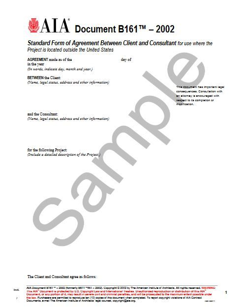 B161-2002 Standard Agreement Client and Consultant For Use Where The Project Is Out State