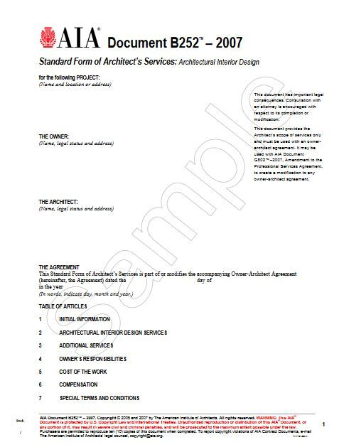 B252-2007 Standard Form Of Architects Services Architectural Interior Design