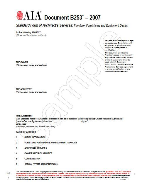 B253-2007 Standard Form of Architect's Services Furniture, Furnishings and Equipment