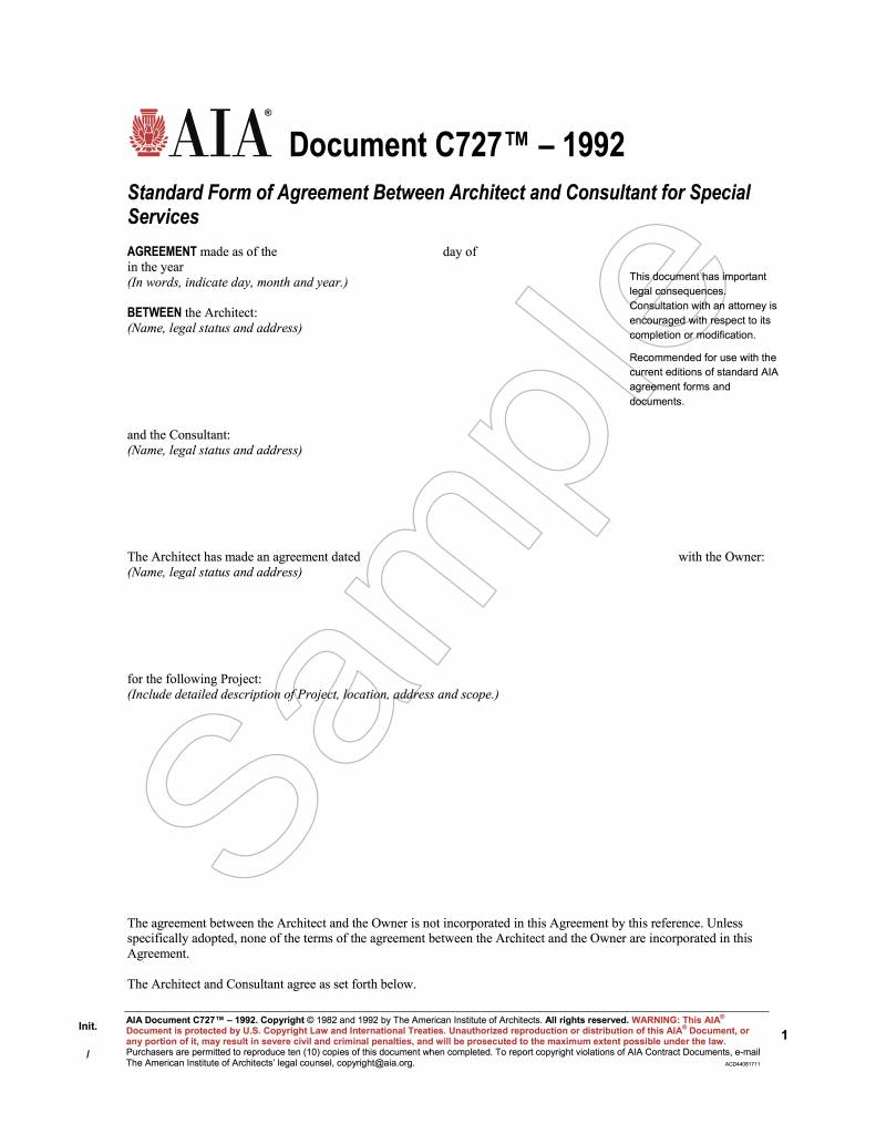C727–1992, Standard Form of Agreement Between Architect and Consultant for Special Services