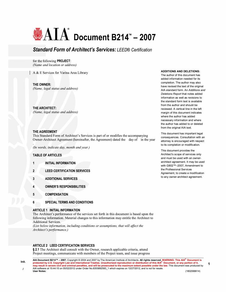 B214 2007 Standard Form Of Architects Services Leed Certification