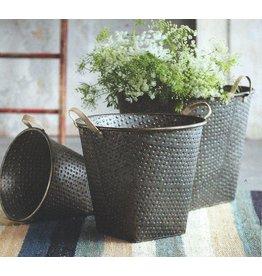 Metal Bucket-Galvanized iron with jute handles