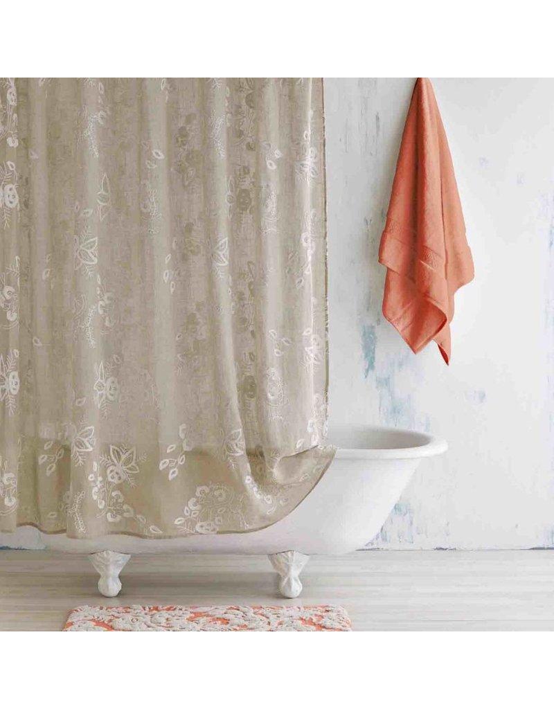 Pasak Embroidered Linen Shower Curtain