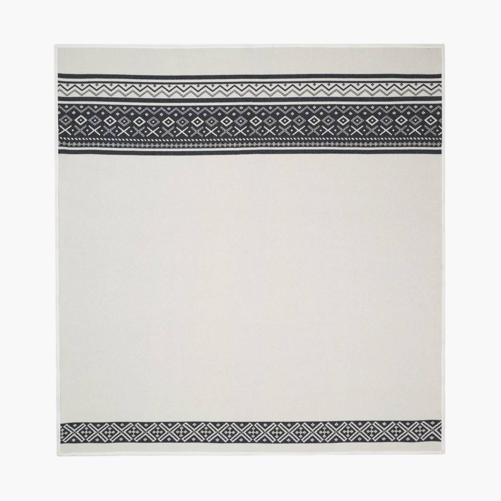 Faribault Woolen Mills Co. Tofte Fair Isle Wool Blanket-Natural/Heather Charcoal