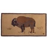 Buffalo on Gold Hooked Rug