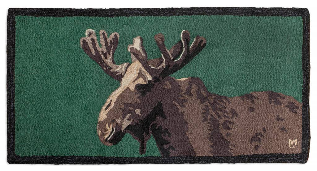 Moose in Velvet on Green Hooked Rug