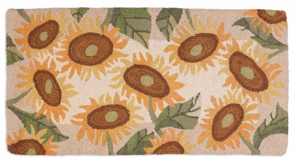 Big Sunflowers on Hooked Rug