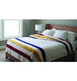 Faribault Woolen Mills Co. Wool Blanket-Revival Stripe/85%Merino/15% Cotton