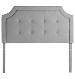 Upholstered Tufted Headboard (Scooped) Faux Linen