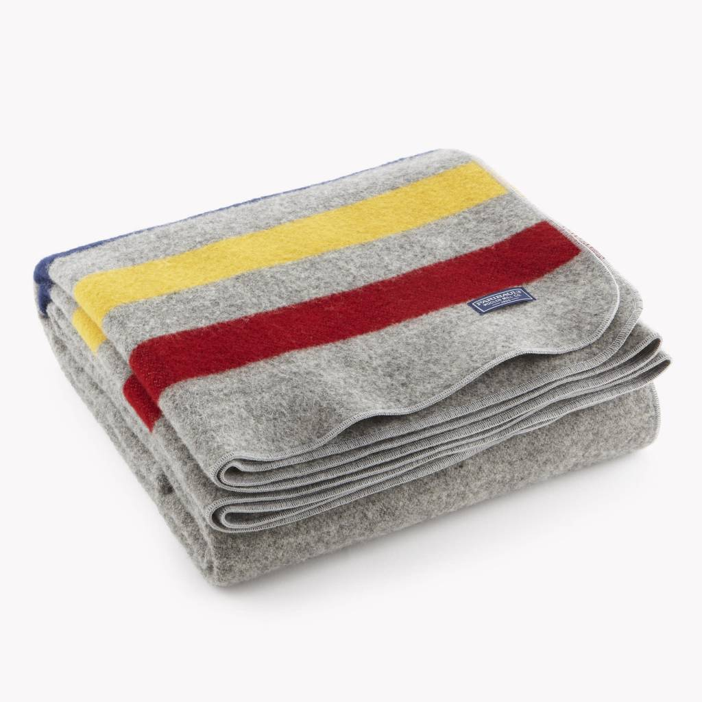Faribault Woolen Mills Co. Wool Throw-Revival Stripe/85%Merino/15% Cotton