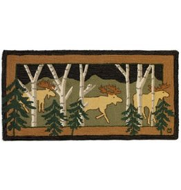 3 birch Moose at Night