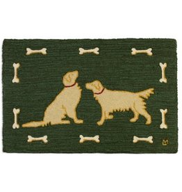 Two Golden Retrivers Wool hooked rug-2x3