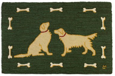 Two Golden Retrivers Wool hooked rug-2x3