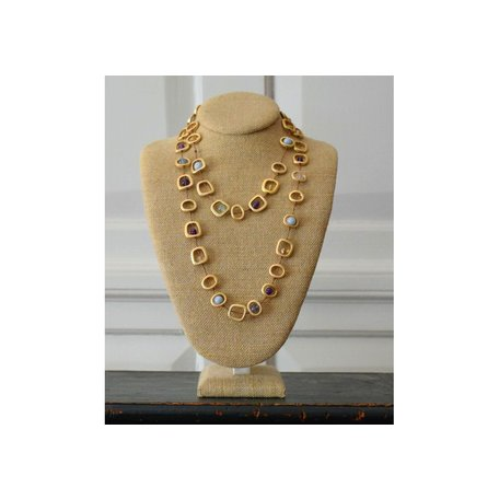 Long Geo Necklace w/ Natural Mixed Stones in Gold