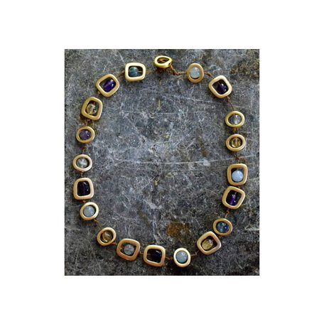 Short Geo Necklace w/ Natural Mixed Stones in Gold