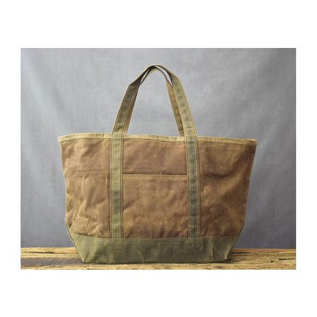 Waxed Canvas Large Boat Tote in Khaki w/ Olive Trim