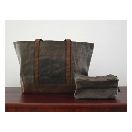 Waxed Canvas Large Boat Tote in Olive