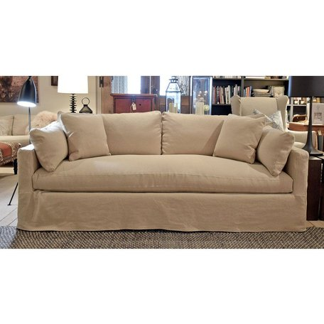 "Cornelia 88"" Slipcovered Sofa w/Down and Bench Seat in Wheat"