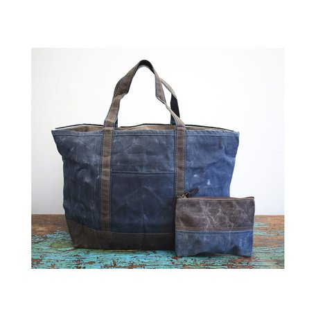 Waxed Canvas Large Boat Tote in Slate w/ Olive Trim