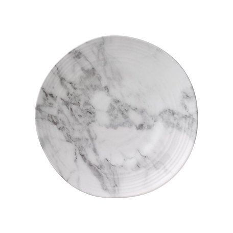 "White Marble Melamine 8"" Round Salad Plate"