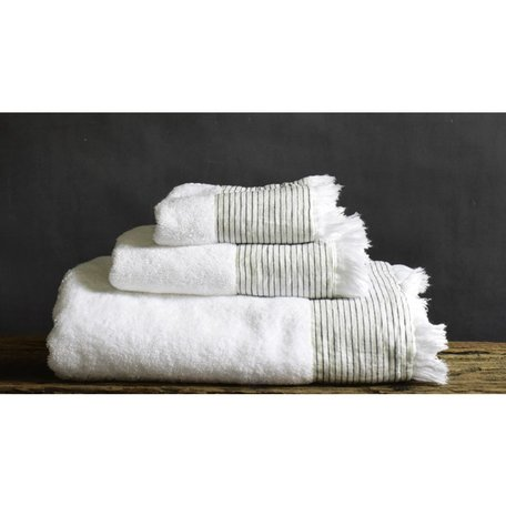 Amagansett Linen Cuffed Hand Towel in White