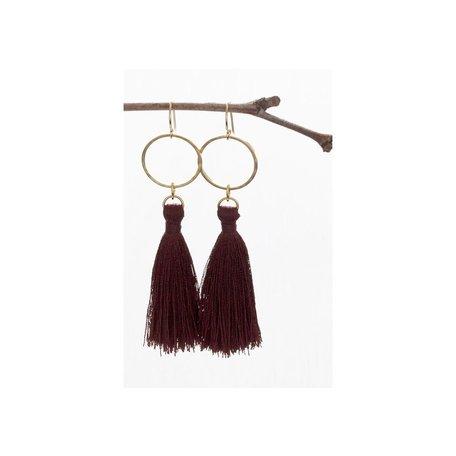 Tassel Earrings in merlot