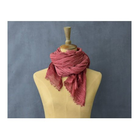 Vintage Cotton Long Scarf in Berry