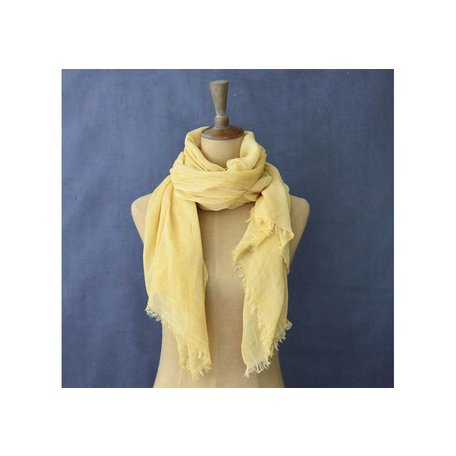 Vintage Cotton Long Scarf in Yellow