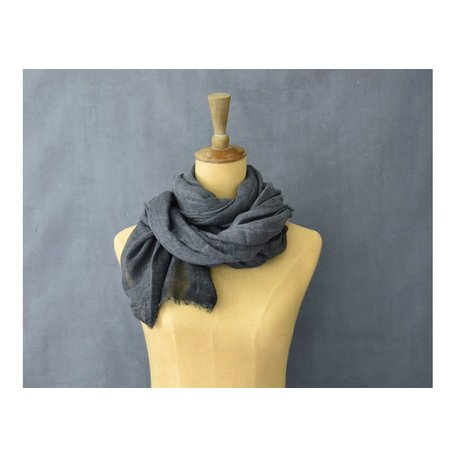 Vintage Cotton Long Scarf in Charcoal