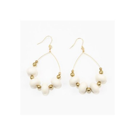 White Oval Wood And Brass Hoop Earrings