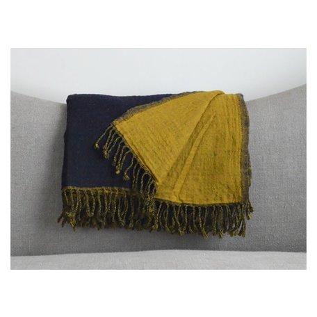 Reversible Boiled Wool Throw in Navy/Mustard