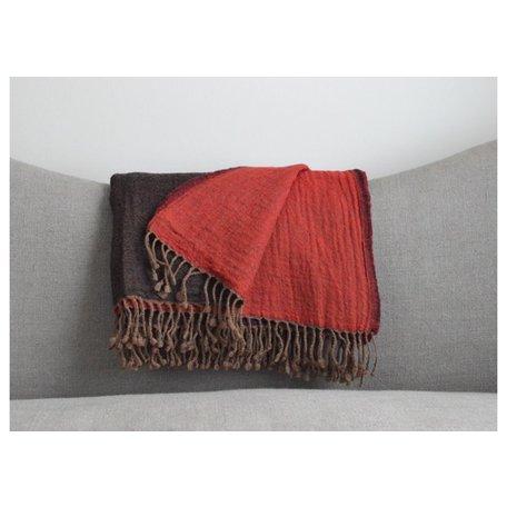 Reversible Boiled Wool Throw in Brown/Red