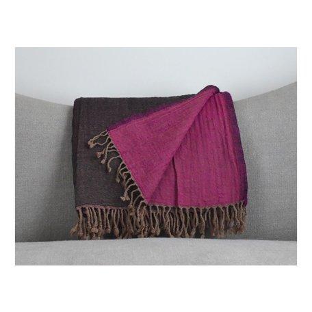 Reversible Boiled Wool Throw in Brown/Magenta