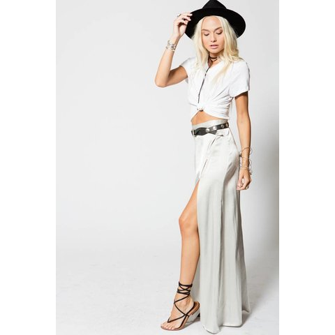 Stillwater Mock Wrap Maxi Skirt  Glass