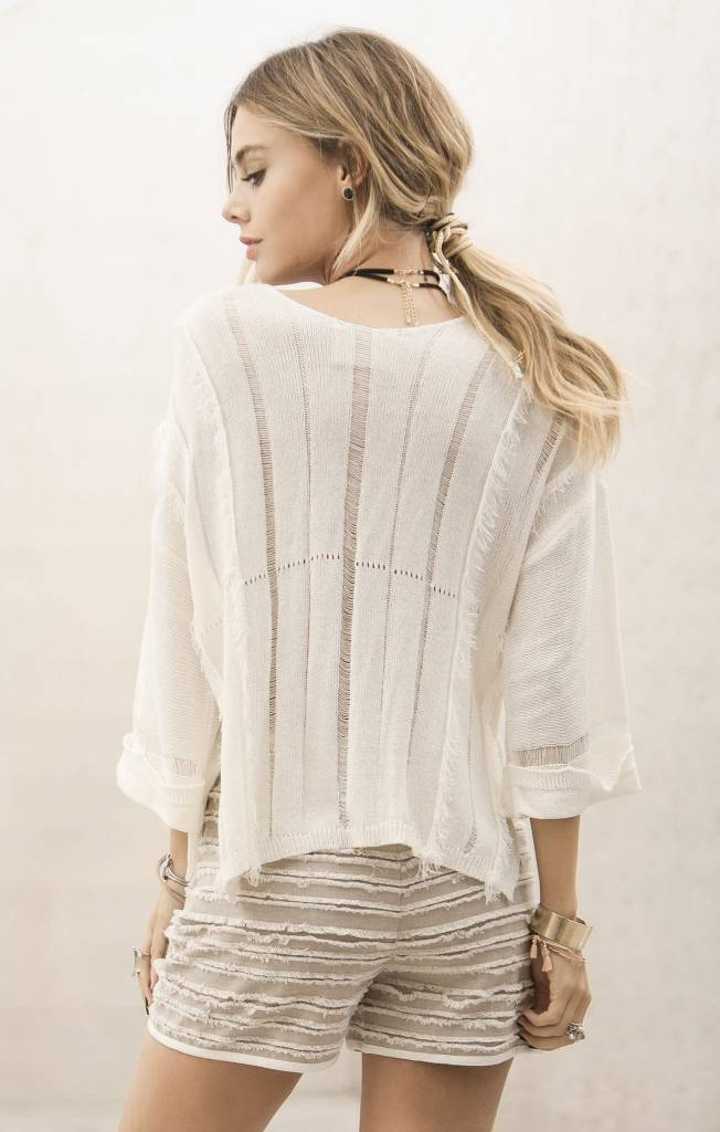 Moon River Moon River Light Weight Sweater Top Ivory