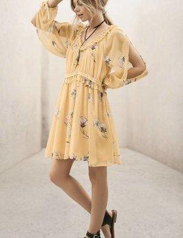 Moon River Moon River Yellow Lace Trim Detail Dress