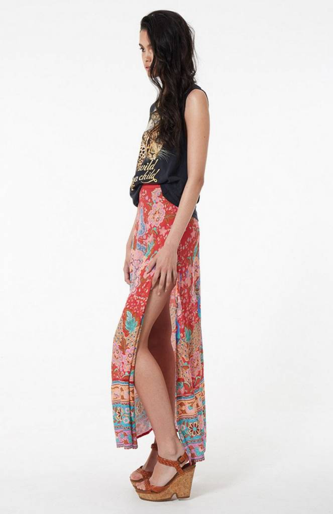 Spell and the Gypsy Collective Spell Lotus Maxi Split Skirt - Ruby