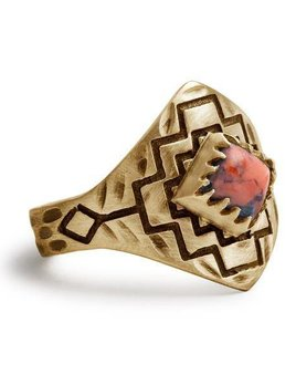 Tribe Tribe Four Winds Ring Gold/Coral Size 7