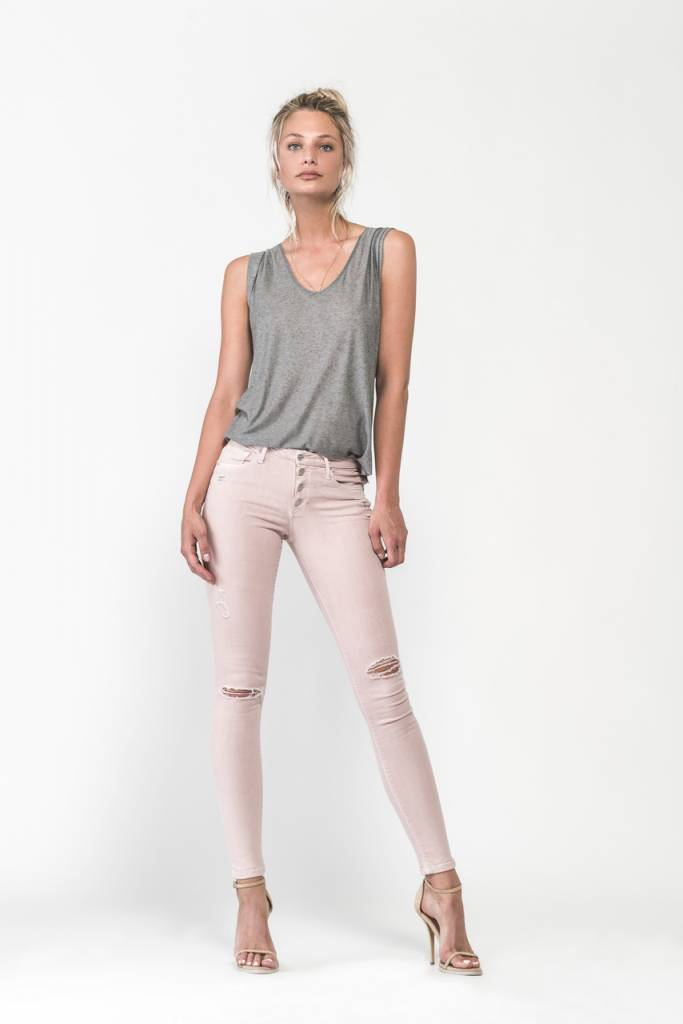 Black Orchid Black Orchid Candice Button Jeans Pink