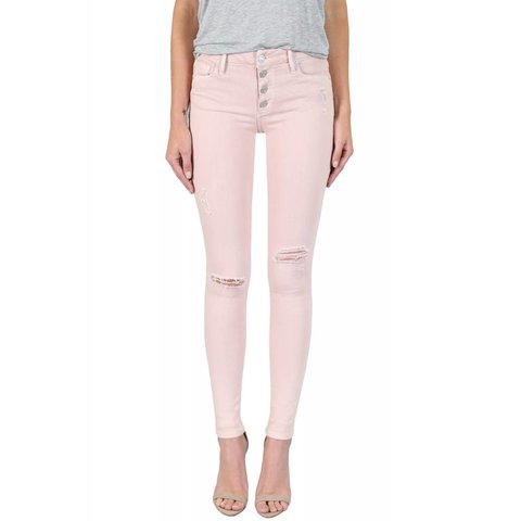 Black Orchid Candice Button Jeans Pink