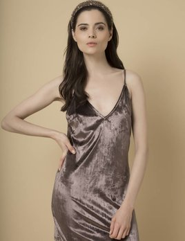 Goldie Goldie Gunmetal Velvet Slip Dress