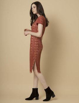 Goldie Goldie Burnt Orange Midi Lace Dress