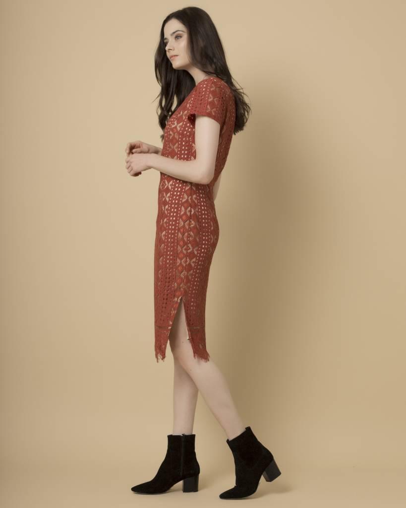 Goldie Goldie Burnt Orange Midi Lace Dress