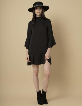 Goldie Goldie Black Satin Shift Dress