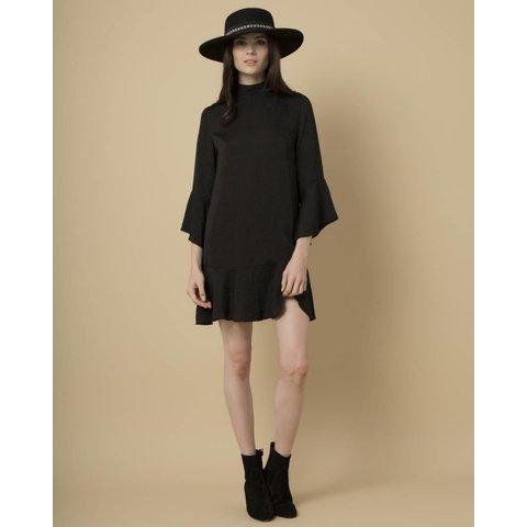 Goldie Black Satin Shift Dress