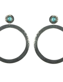 2 Bandits 2Bandits Big Tex Earrings Antique Silver/Howlite Turquoise